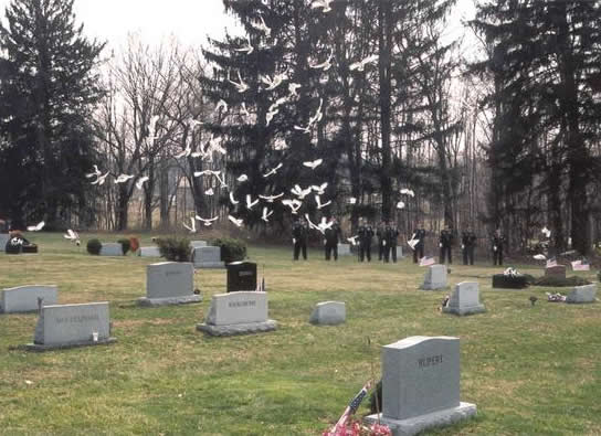 flock of doves at memorial service